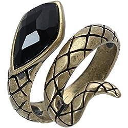 TOOGOO (R) Anillo de la aleacion de bronce con Serpiente para Hombres 22mm vintage