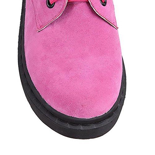 AllhqFashion Damen Niedriger Absatz Niedrig-Spitze Rein Schnüren Stiefel mit Knoten Rosa