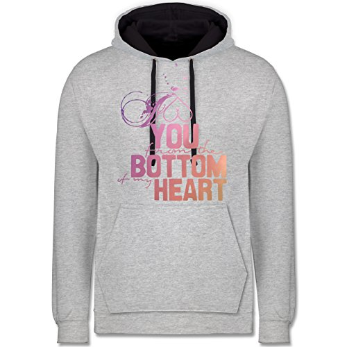 Statement Shirts - I love you from the bottom of my heart - Kontrast Hoodie Grau meliert/Dunkelblau