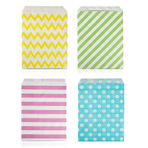 Czemo 100 Stück Papiertüten Candy Bar / Candy Tüten / Geschenktüten / Süssigkeiten Beutel / Bonbon Taschen 4 Verschiedene Designs 18 x 13CM