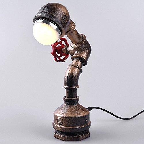 Rishx Vintage Steam Punk Wasserpfeife Schreibtisch Akzent Licht Antik Loft Metall Tisch Nacht Lampe Schlafzimmer Nachttischlampe (Rotary Switch) (Color : Bronze) -
