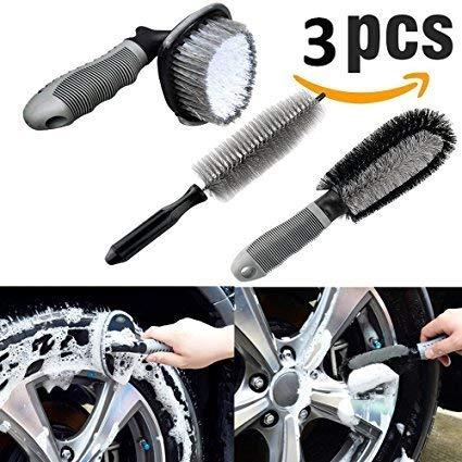 Fristee - set di 3 spazzole per la pulizia di ruote e cerchi per auto e moto