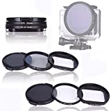 QKOO 58mm Lens Filter Kit For GoPro Hero (2018)/GoPro Hero 5/Hero 6 UV + CPL Filter Adapter Ring With Lens Protective Cap For GoPro Hero (2018)/Go Pro Hero 5/Hero 6 Action Camera Accessories
