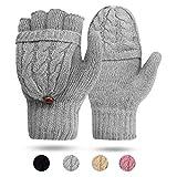ECOMBOS Damen Handschuhe Fingerlos, Winter Handschuhe Fingerlose Fäustlinge Damen Fingerhandschuhe Warm (Grau)