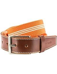 STRETCH Stoffgürtel Textilgürtel Bandgürtel mit Lederendstück / Gürtel Herren Pierre Cardin, 70143 orange-weiss