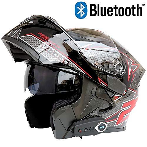 Leaf&Y Motorrad Crash Modular Bluetooth Helm, Offroad Motorrad Integralhelme für Vier Jahreszeiten, Automatische Antwort/FM/Musik/GPS Navigation Voice,XXL