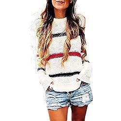Top Cardigan Tejido,BBestseller Cárdigan Superior de Punto Liso de Manga Larga Sudaderas para Mujer Blusa Camiseta de Empalme Tops Otoño e Invierno
