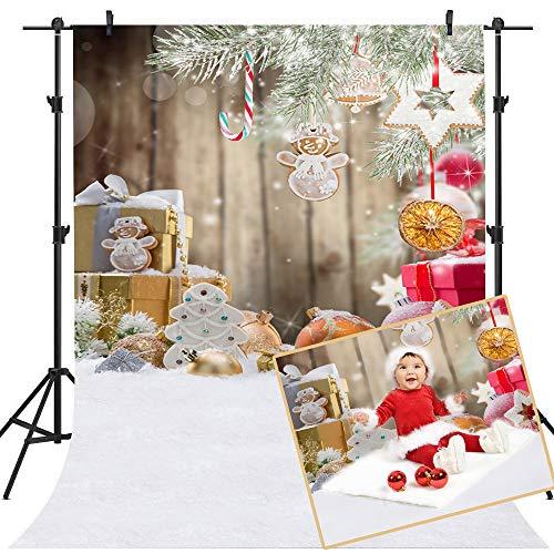 Mehofoto Thema Weihnachten Hintergrund Weihnachtsbaum und Geschenk-Dekoration Foto Kulissen 5x7ft Winter Schnee Boden Fotografie Hintergrund (Thema, Dekorationen Schnee,)