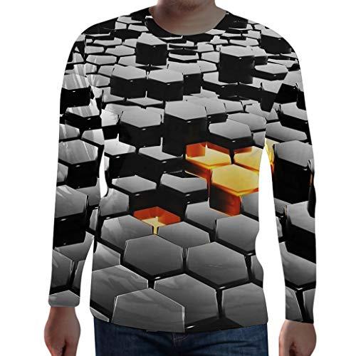 Herren Sweatshirt 3D Drucken Rundhals Longsleeve Basic Langarm T-Shirt Basic Langarmshirt -