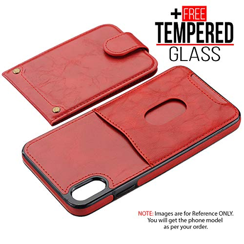 BisLinks®® Für iPhone X iPhone XS Back Wallet Fall Cover Fitted PU Leder Classic Stil Magnetisch Flip Protection Shockproof - Red + 1 Free Temperiert Glas -