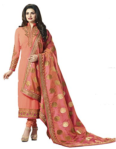 Priyavadhu Women's Georgette Embroidered Semi Stitched Dress Material(Dark Peach_Free Size_SBQN5641)