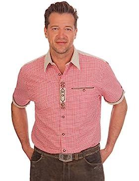 H1521 - Trachten Herren Hemd mit 1/2 Arm - rot