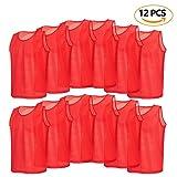 VGEBY 12er Set Erwachsene Fußball Trainingsweste Trainingsleibchen Markierungshemd für Volleyball Fußball Basketball