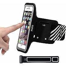EOTW Fascia da Braccio Bracciale Sportiva per Smartphone Samsung Asus LG iPhone 6/6S Plus da Corsa Maratona Palestra Running Jogging (5,5 inch,Nero)