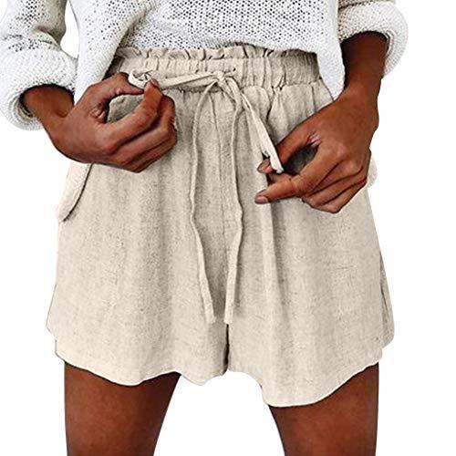 Yvelands Damen Kurzschlüsse, Mode Weisefrauen-Sommer-Feste elastische schnüren Sich Oben beiläufige Kurze Baumwoll- und Leinenhosen(Khaki,XL) 2t 4t Bottoms Jeans