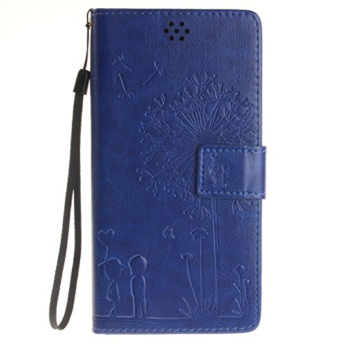 Qiaogle Teléfono Case - Funda de PU Cuero Billetera Clamshell Carcasa Cover para Lenovo K3 Note A7000 / K50-t5 4G LTE (5.5 Pulgadas) - TX22 / Romántico Diente de león (azul)