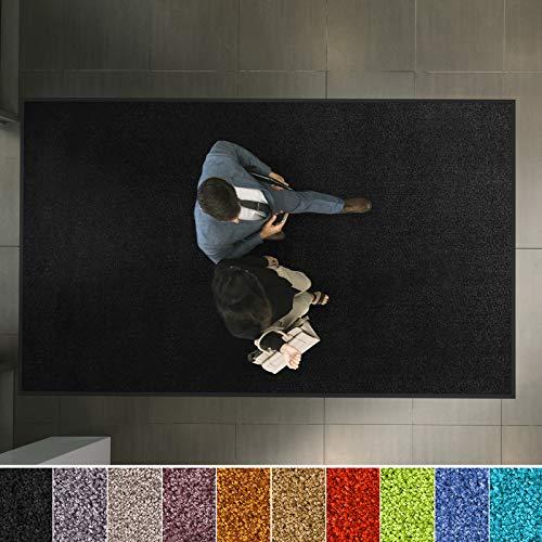 etm Hochwertige Fußmatte | schadstoffgeprüft | bewährte Eingangsmatte in Gewerbe & Haushalt | Schmutzfangmatte mit Top-Reinigungswirkung | Sauberlaufmatte waschbar & rutschfest (60x90 cm, Schwarz)