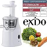 EXIDO 12230009 Exido Slow Juicer, Profi Entsafter,einfach frischen Frucht-Saft genießen, Weiß