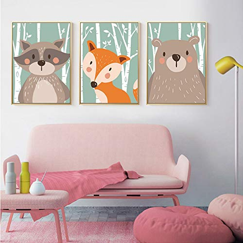 ZSHSCL Impresión En Lienzo De Pintura De 3 Piezas Nórdica Kawaii Bosque Animal Pintura De La Lona Impresión De La Pared Imagen Dormitorio De Los Niños Sala De Estar Decoración para El Hogar, 20X30