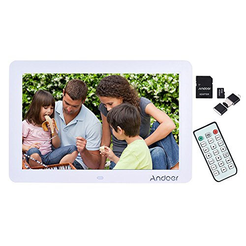 'Andoer 12 breit Bildschirm HD LED Digitaler Bilderrahmen hohe Auflösung 1280 * 800 mit Fernbedienung LED Kalender Uhr MP3 MP4 Movie Player + 32 GB SD Card + Kartenleser