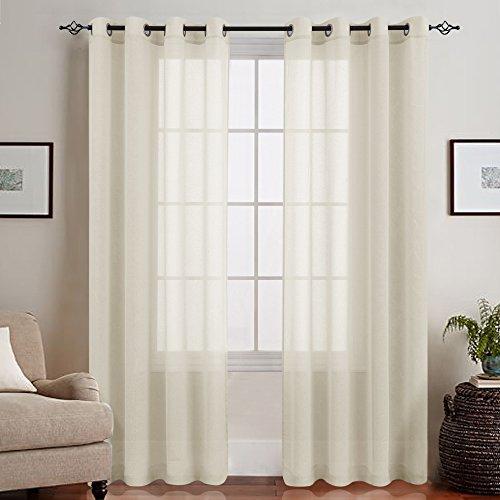 TOPICK Beige Lange Gardinen Vorhang für Wohnzimmer transparent mit Ösen Ösenschal dekoschal Voile 225 x 140 cm (H x B) 2er Set