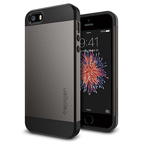 iPhone SE Hülle, Spigen® iPhone 5S/5/SE Hülle [Slim Armor] Dual-Layer Schutz [Gunmetal] Luftpolster-Technologie an den Kanten / 2-teiliges Case Schutzhülle für iPhone SE, iPhone 5S, iPhone 5 - Gunmetal (SGP10475)