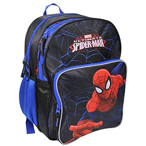Ragusa-Trade Marvel Spiderman Spider-Man - Rucksack Kinderrucksack (SPF) mit Hauptfach und Nebenfach Getränkenetz, 38x31x20 cm, schwarz/blau