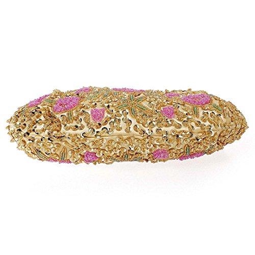 BMC Donna Piccolo Perline Incastonato Rosa Motivo A Fiori Borsetta Da Sera Luccicante Oro