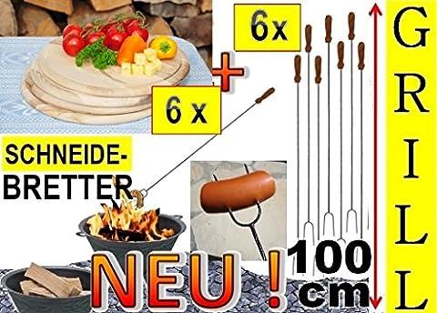 6x Fleischteller Grillbrett Holz + 6x große Grillspiesse, 100 cm lang, lange Spiesse Gabel-Spieß + massive Schneidebretter, Servierplatte D 25 cm, rund, Grillbrett Servierbrett für Wurst, Gemüse, Steak / Fleischplatte, Bruschetta, Raclette, Brotzeitbrett mit Griff, Platzteller, Frühstücksbrett, Bayerisches Brotzeitbrettl, massives Schneidbrett, Anrichtebrett, Frühstücksbrett, Brotzeitbretter, Steakteller , Schinkenteller von BTV, (Runde Gemüse Servierplatte)