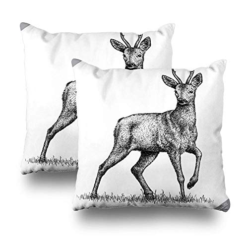 Satz von 2 dekorativen Kissen Fall Throw Pillow Covers für Couch Indoor Bett, schwarz und weiß Deer Deer Vintage alte Tier Antik Art Beast Home Sofa Kissen Kissenbezug Geschenk 45 X 45 cm -