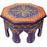 Hand Painted Round Small Table Stool Bajot Chowki 10 X 10 X 6 Inches