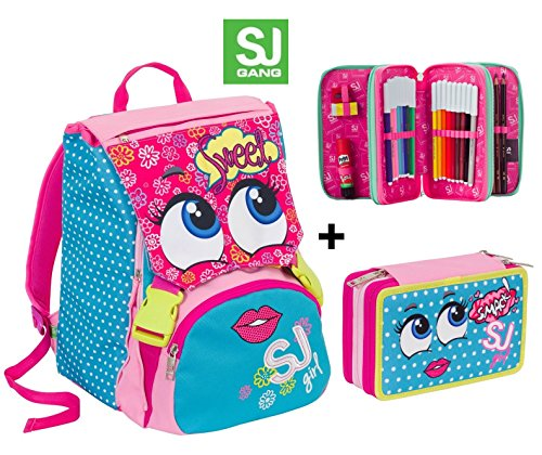 Zaino scuola sdoppiabile SJ GANG FACCINE - GIRL - Azzurro Rosa Giallo - + Astuccio 3 zip - FLIP SYSTEM - 28 LT elementari e medie 3 pattine sfogliabili