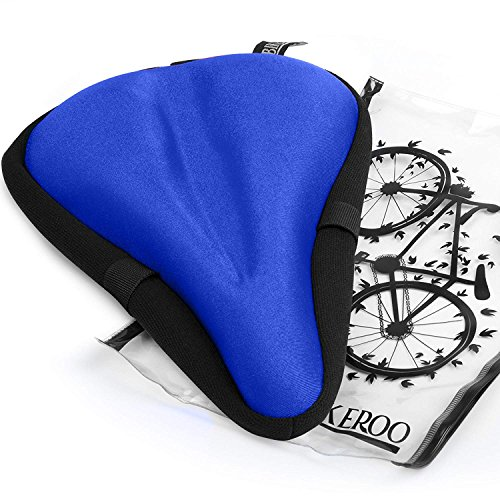 Most Comfortable Static Bicycle Seat Cover [Soft Gel Pad] - Universal Bicycle Saddle Case - Men and Women - Suitable for Spinning, Fixed, Touring, Riding and Mountain Bike