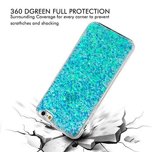 iPhone 5 5S Hülle,iPhone SE Case YOKIRIN Flexible TPU Silikon Schutzhülle Vertieft Glitzern Tasche Silikonhülle 3D Diamant Paillette Bling Pulver Handyhülle Schale Backcase Handycover mit Staub Stecke Grün Blau