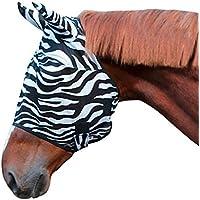 Kerbl 326120Mosquitera Máscara Zebra Incluye Protector de Orejas, Pura Sangre