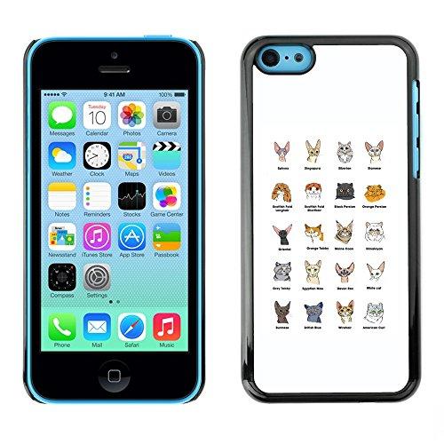 Ziland Premium Slim HD plastique et d'aluminium Coque Cas Case Drapeau Cover / Cat Breeds Sphynx Scottish Fold Himalayan / Apple iPhone 5C Cat Breeds Sphynx Scottish Fold Himalayan3005591
