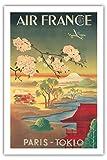 Tokio Paris (Tokyo) - Air France - Mt. Fuji Et Fleurs De Cerisier - Airline affiche vintage de voyage Vintage Airline Travel Poster c.1952 - Prime 290gsm Giclée Imprime - 61cm x 91cm