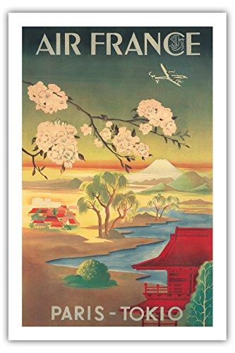 tokio-paris-tokyo-air-france-mt-fuji-et-fleurs-de-cerisier-airline-affiche-vintage-de-voyage-vintage