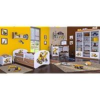 Preisvergleich für naka24 6 -teiliges Set Jugendzimmer Kindermöbel Zimmermöbel Bagger mit Kinderbett