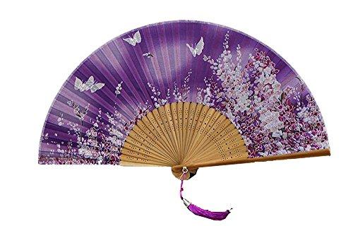 Fan antike Dame Cherry Blossom japanischen Stil Falten Seide gemischt Fan antiken Fan Tanz Fan und Wind Mädchen Fan (Farbe : 18)
