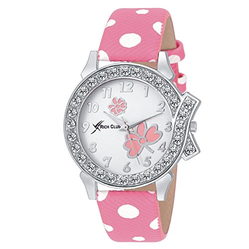Rich Club Analogue White Dial Women's & Girl's Watch - Pink-Lui-2