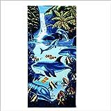 Telo Mare Asciugamano da Spiaggia Super Grande Modello Leopard per Uomo E Donna Adulto per Aumentare Lo Spessore della Stampa Morbida Super Assorbente, Delfini (180 * 100 Cm), 180X100 Cm