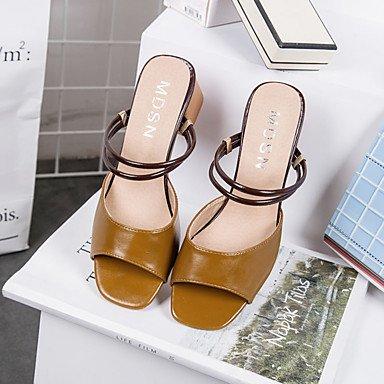 LvYuan Da donna Sandali Con cinghia PU (Poliuretano) Estate Casual Con cinghia Più materiali Quadrato Bianco Beige Marrone scuro 2,5 - 4,5 cm beige