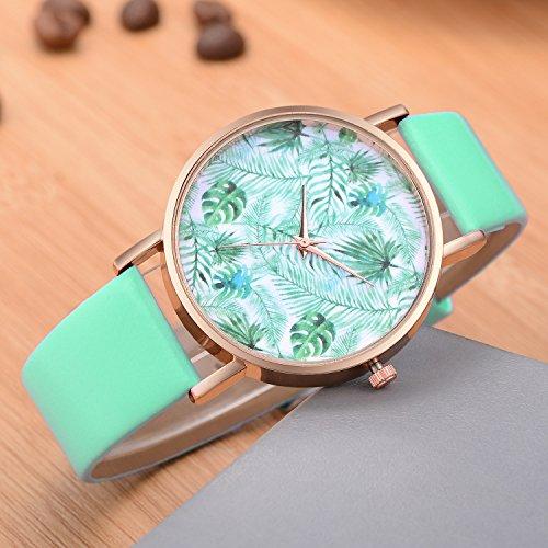 Dilwe Armbanduhr Frauen Uhr Modische Blatt Muster Vorwahlknopf Quarz Bewegungs Uhr mit justierbarer PU-Bügel Analog Anzeigen (Grün) -