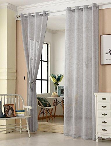 WOLTU® VH5862hgr-2, 2er Set Gardinen transparent mit Ösen Leinen Optik, Doppelpack Ösenschal Vorhang Stores Voile Fensterschal Dekoschal für Wohnzimmer Kinderzimmer Schlafzimmer, 140x225 cm, Hellgrau