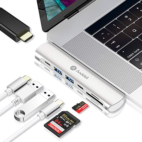 "andobil USB C Hub USB C Adapter【Upgrade Version】für MacBook Pro 2018/2017/2016 13""&15"", MacBook Air 2018 13"", 7 in 1 Thunderbolt 3 Adapter mit 4K HDMI 2 x USB 3.0 Type C Port SD/TF Kartenleser"