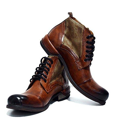 PeppeShoes Modello Oreto - 45 EU - Handgemachtes Italienisch Leder Herren Braun Stiefel Stiefeletten - Rindsleder Handgemalte Leder - Schnüren - Herren Italienische Schuhe Stiefel