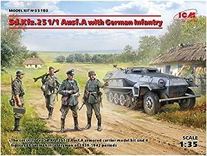 ICM 35103 - Maqueta de Coche SD. 251/1 Ausf.A with German Infantry, Color Gris