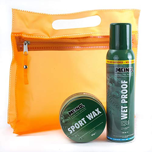 Meindl Sportwax XXL Doppelpack - Sportwax + Wet Proof Imprägnierer - Lederpflege Schuhpflege für alle Lederschuhe + KULTURBEUTEL