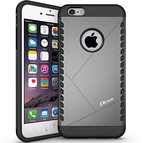 Apple iPhone 6 Plus Hülle, JKase CANVAS Dual Layer Rüstung Case Hülle TPU Innencase für Apple iPhone 6 Plus (Grün) Grau